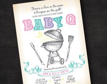 Couple's BBQ Baby Shower Invitation | Co-Ed Baby Shower Invitation | Printed Invitation or Printable Digital File | Baby Q Baby Shower