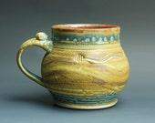 Handcrafted pottery beer mug, ceramic mug, stoneware stein mottled cream and brown 24 oz 3337