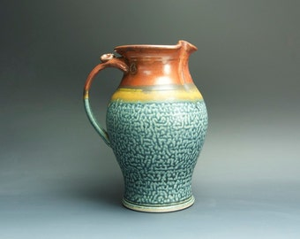 Handcrafted pottery pitcher, stoneware vase 48 oz. 3440