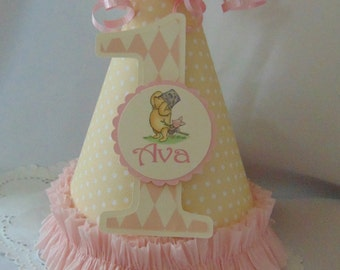 Winnie the Pooh and Piglet  Birthday Hat-Party Hat pink Pooh -1st Birthday -Disney