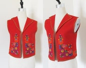 Vintage 1960's Bright Red SWISS Vest / Embroidered Floral Detail Wool Felt Schweizer Alpine Vest Woman's Size Small