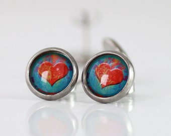Red heart earrings, Red Heart Stud Earrings, Circle Surgical Stainless Steel earrings, ANTI-ALLERGIC, 12mm 0.48 inches, Picture earrings,