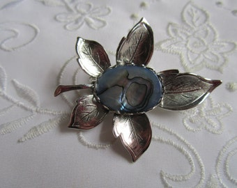 Vintage Blue Abalone and Silver Tone Leaf Brooch