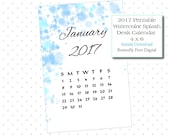 Watercolor Printable 2017 Desk Calendar, 4 x 6 inch, Watercolor Splash Art Style, Home or Office Calendar, Instant Download