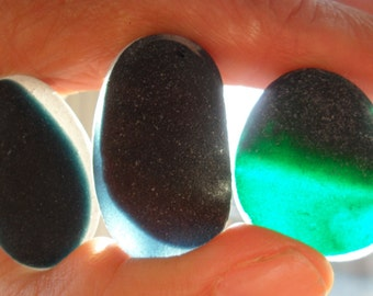 3 Large Multis - Beautiful English Seaham Sea Glass - Free Shipping (4658)