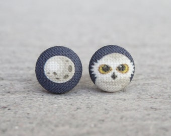 Night Owl and Moon Fabric Button Earrings