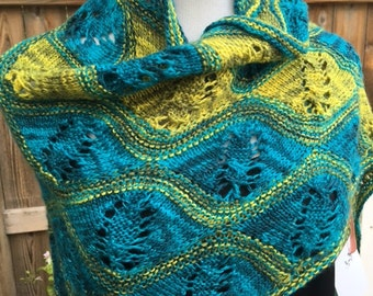 Turquoise & Lime Green Cashmere and Silk Knitted Triangle Shawl