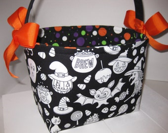 Color Me Witches Bats Halloween Trick or Treat Fabric Basket / Halloween Bucket / Halloween Bag - Fabric markers available