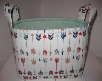 Navy Red Gold Mint Blue Arrows Organizer Bin / Fabric Basket / Small Diaper Caddy -Personalization Available