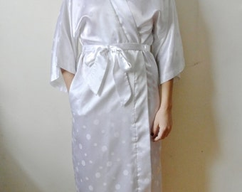 30% OFF SALE Vintage Saks Fifth Avenue Robe White Polka Dot House Coat Gift For Her Mom