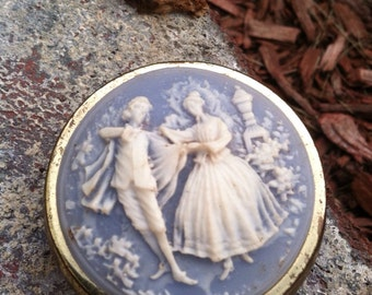 Vintage pill box compact cameo couple blue