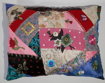 Beautiful 10 x 13 Novelty Pillow Hand Designed Crazy Quilt Style Flower Embroidery Appliques Multi Color Hippie Floral Rectangular Patchwork