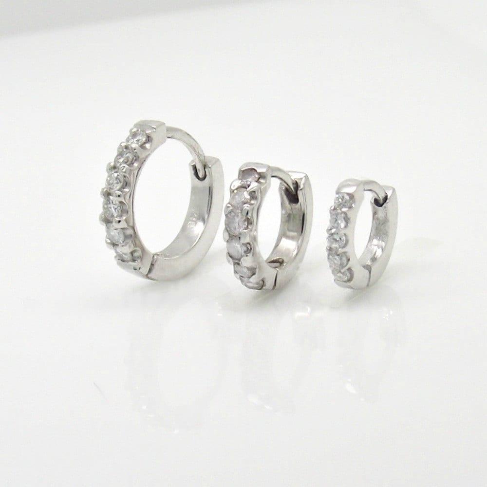 Tiny Diamond Triple Hoop Earrings, Set Of Three Gold Hoop Earrings, Cartilage  Earring,