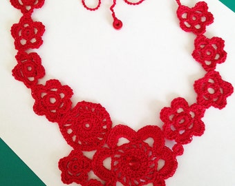 Unique Sexy Red Crocheted Necklace