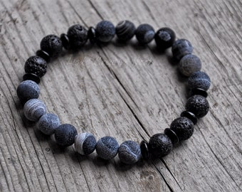 Essential Oil Diffuser Bracelet, Stretch Bead Bracelet, Diffusing lava beads, Natural Healing Beads, 'Denim' Natural Stone Bracelet