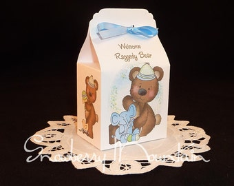 Raggedy Bear Baby Boy - Baby Shower Favor Box Kits - Blue - Set of 12