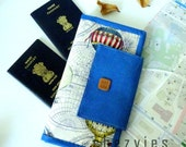 Family Passport Holder and  travel  document organizer fit in up to 6 passports - Hot Air Baloon Blue