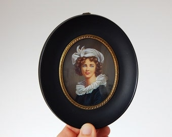 french miniature painting vintage hand painted miniature
