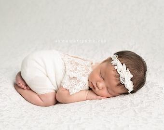 Baby Cream Pearl Headband, Newborn Pearl LaceHeadband, Pearl Tieback, Baptism Headband, Newborn Photo Prop, Newborn Props Off White Headband