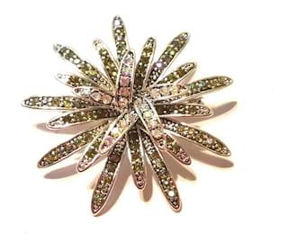 Brilliant Vintage Rhinestone Brooch Pin Large Flower Vintage Jewelry