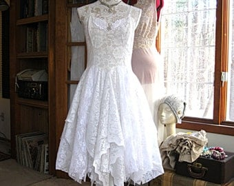 20% OFF - Off White tattered alternative bride boho bohemian hippie gypsy wedding dress, recycled/vintage laces, US size 8-10, 36 inch bust