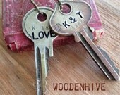 Double Key Necklace with Custom Hand Stamped Vintage Keys