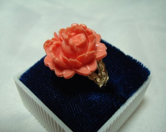 Carved Coral Like Rose Ring.