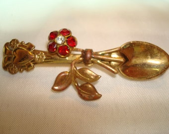 Vintage CORO Golden Spoon with Red Jeweled Flower Pn.