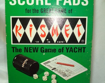 1970 KISMET The New Game of Yacht Score Pads and Instructions.