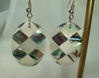 1994 Mosaic Pattern Abalone Shell Pierced Earrings.