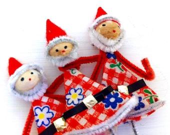 Vintage Christmas Elf or Santa Picks, Chenille Pipe Cleaner Stems, Package Tie Ons, Set of 3