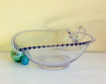 Vintage Clear Glass Heart-Shaped Candlewick Bowl with Handle, Large Fruit Bowl, Imperial Glass Co.