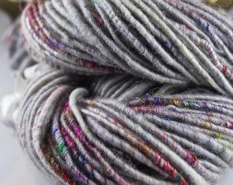 Handspun Art Yarn Corespun Super Bulky Sheeping Beauties  'Silver Lining Tweed'