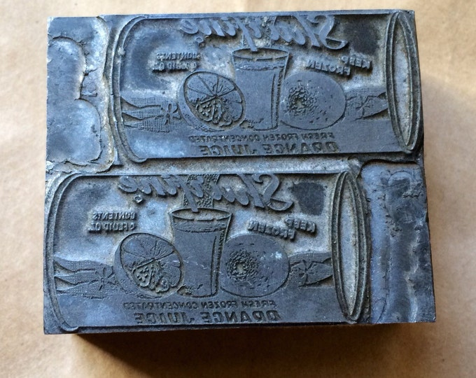 Shurfine Orange Juice Antique Letterpress Print Block Newspaper Printing Die