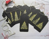 Christmas Gift Tags, set of 10, black gift tags, handmade, OOAK
