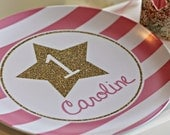 Personalized Melamine Glitter Star Plate