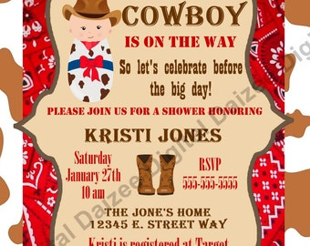 Personalized cowboy baby shower invite