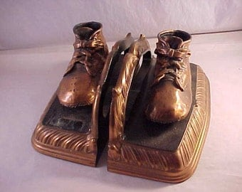 Bronzed Baby Shoe Bookends