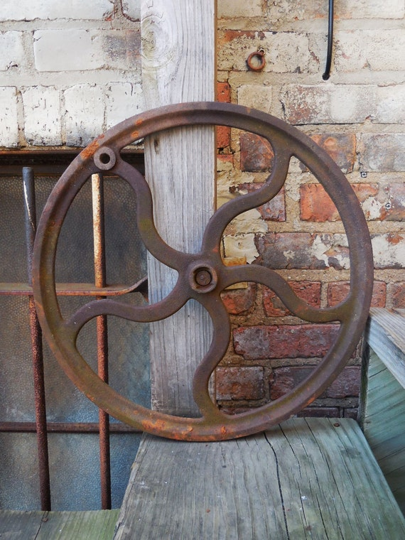 Cast Iron Wheels And Gears : Vintage cast iron wheel gear pulley industrial machine age