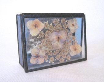 dried gypsophila + the violas, vintage Jewelry Box for treasured mementos - pressed floral keepsake, Stained Glass + Botanical Flowers