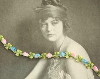 Antique 1920's Ribbon Work Silk Rococo Rosette Trim