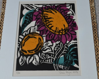 Sunflowers woodcut print with Chine Colle