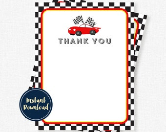 Race Car Thank You Cards, Racing Thank You Note, Racing Birthday Thank You, Blank Thank You, Printable INSTANT DOWNLOAD