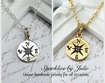 Small Rose Compass Necklace - Select from Sterling Silver or Solid Bronze/Gold Filled, Graduation Gift, Follow Your Dreams, Best Friends