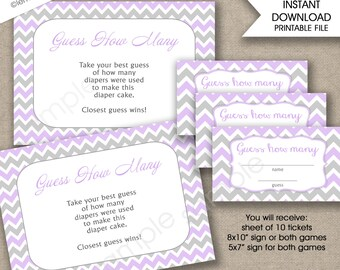 Guess how many diapers in the diaper cake, guess how many candies, girl baby shower games lavender grey chevron instant download PURPLE