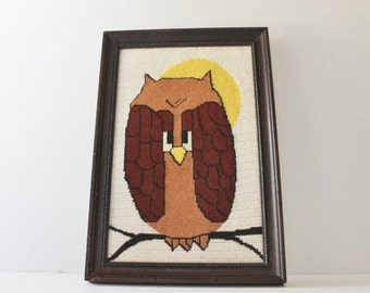 back to school sale // Vintage 70s Owl Needlepoint Picture - 15x10 - Professionally Framed