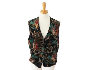 30% off sale // Vintage 80s Fox Hunt Dog and Horse Vest - Women M L - black, velour Chaus
