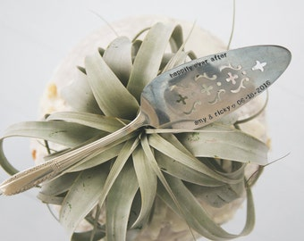 PERSONALIZE your own Hand Stamped Vintage Wedding Cake Server - Add the Names of Bride & Groom and their wedding date