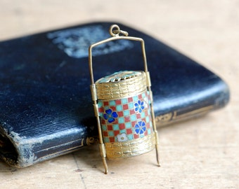 Vintage Japanese enamel inro style pendant ∙ enamel compartment pendant