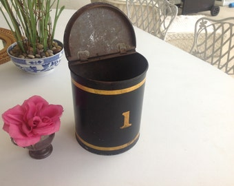 ANTIQUE METAL TIN / Black Metal Canister with hinged Lid / Gold and Black /  Metal Tin Canister / Farmhouse Cottage Style Retro Daisy Girl
